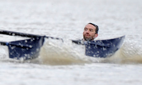Trenton Oldfield makes his protest during the Oxford v Cambridge Boat Race