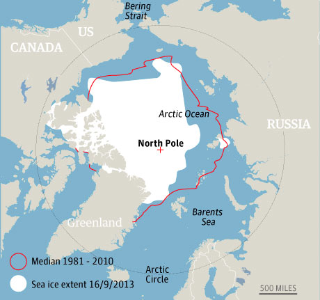Arctic sea ice extent September 2013.  Photograph: guardian.co.uk
