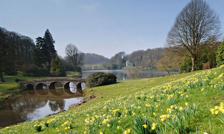 Country Diary : Spring has arrived at Stourhead lake in Wiltshire