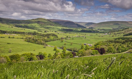 View across the Hodder Valley in the Forest of Bowland, Lancashire, one of the main targets for fracking companies. Photograph: Alamy