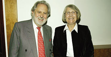Jane Mercer with Lord Puttnam after receiving a Focal lifetime achievement award
