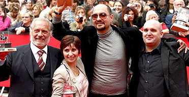 Rome film festival winners:  best actor Giorgio Colangeli, best actress Ariane Ascaride, best film director Kirill Serebrennikov and jury prize winner Shane Meadows