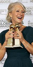 Helen Mirren with her two Golden Globe awards