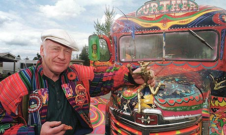 Ken Kesey, pictured in 1997 with Further, a descendant of the famous vehicle that carried him and his Merry Pranksters on the trip immortalised in Tom Wolfe's The Electric Kool-Aid Acid Test