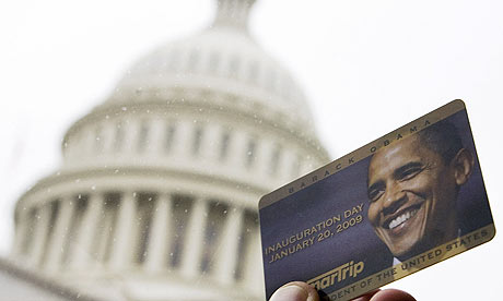 Commemorative Washington DC metro card with the image of Barack Obama