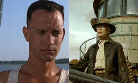 Tom Hanks in Forrest Gump and Brad Pitt in The Curious Case of Benjamin Button