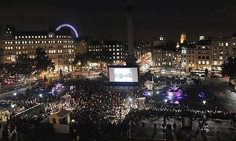 London film festival 2009 outdoor screening in Trafalgar Square