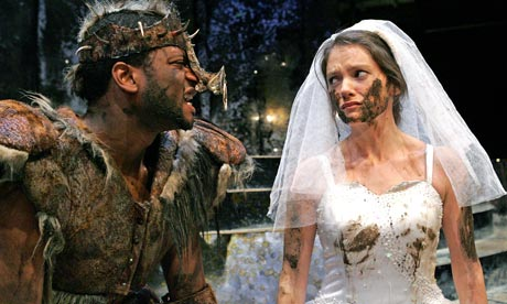 Carol Hughes (Flora) and Rodney Clarke (Pig) in The Enchanted Pig at the Young Vic in 2006