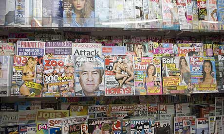 Magazines on display at a newsagents