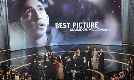Cast and crew of Slumdog Millionaire celebrate their best film Oscar at the 2009 Academy Awards
