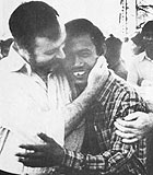 Sydney Schanberg and Dith Pran, reunited in Thailand in 1979