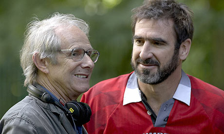 Ken Loach and Eric Cantona on the set of Looking for Eric