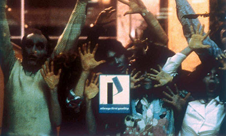 Crowd scene from Dawn of the Dead (1978). Hanging together .