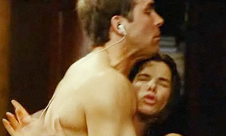 Ryan Reynolds and Sandra Bullock in a comedy nude scene in The Proposal.