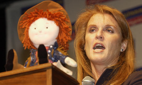 Sarah Ferguson, The Duchess of York, introducing her doll, Little Red, in 2002