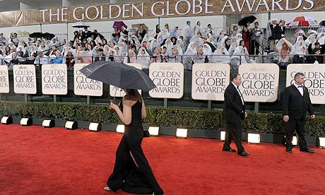 The rain-swept red carpet for the 67th annual Golden Globe awards