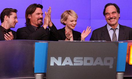 Wall Street: Money Never Sleeps cast ring the opening bell at the Nasdaq MarketSite