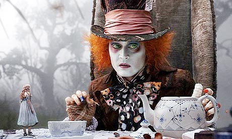 Mia Wasikowska and Johnny Depp in Tim Burton's Alice in Wonderland
