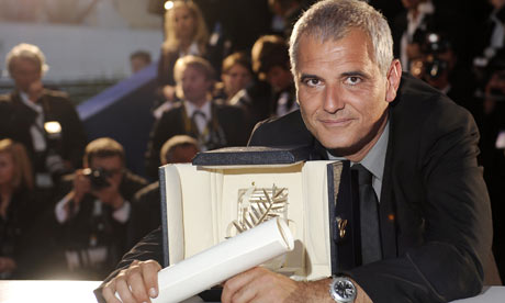 French director Laurent Cantet with his Palme d'Or for The Class