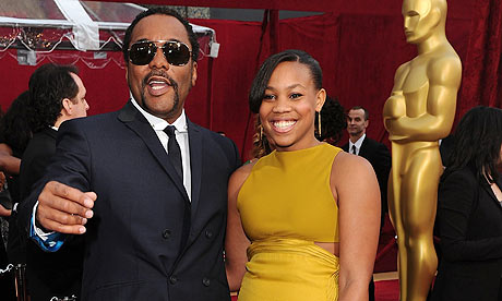 Lee Daniels and his daughter at Oscars 2010