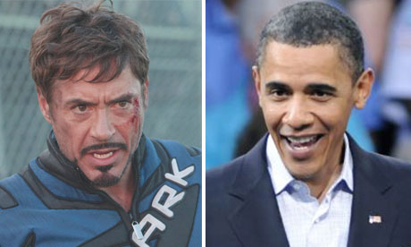 Robert Downey Jr in Iron Man 2 and Barack Obama