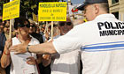 People protesting in Cannes against Rachid Bouchareb's Outside the Law