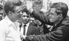 James Dean and Corey Allen on the set of Rebel Without a Cause
