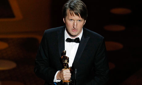 Tom Hooper accepts the Oscar for best director