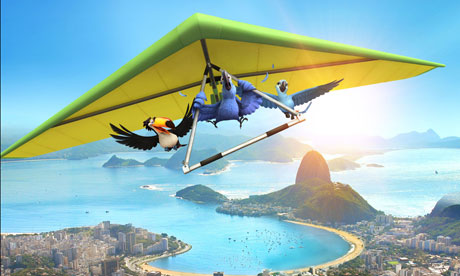 Gliding stars ... Rio soared over Russell Brand's Hop and Wes Craven's Scre4m.