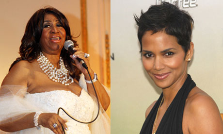 Aretha Franklin and Halle Berry composite