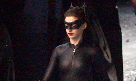 Anne Hathaway on set in her Catwoman costume