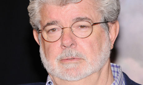 George Lucas attends the premiere for Red Tails, his latest film.