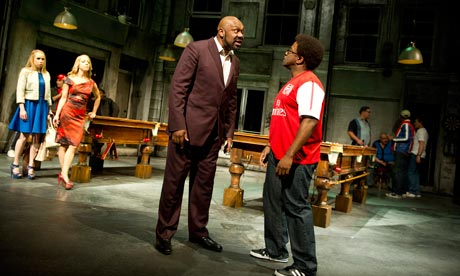 Lenny Henry, centre, as Antipholus of Syracuse in The Comedy of Errors at the National theatre.