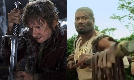 Martin Freeman in The Hobbit: An Unexpected Journey and Christopher Judge in Age of the Hobbits.