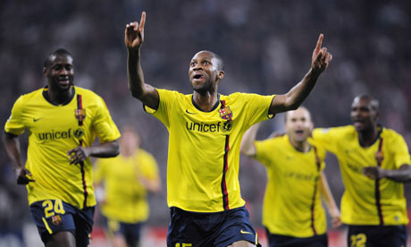 Barcelona player Seydou Keita celebrates his equaliser against Bayern Munich.