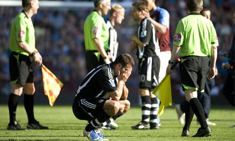 Newcastle's Steven Taylor after their defeat meant relegation from the Premier League