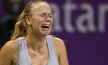 caroline wozniacki hot pictures. Caroline Wozniacki reacts