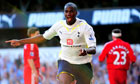 Sebastien Bassong celebrates scoring Tottenham's second goal against Liverpool.