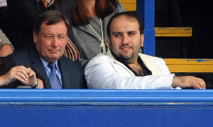 Sulaiman al Fahim, right, with Portsmouth chief executive Peter Storrie at Fratton Park