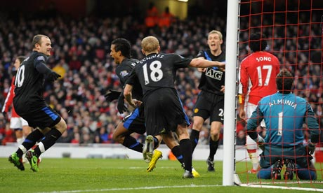 Nani celebrates scoring at Arsenal
