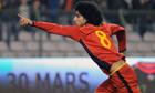 Belgium's Marouane Fellaini celebrates scoring v Austria. He will be out for Everton for six weeks