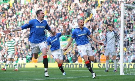 Rangers' Kenny Miller and Kyle lafferty celebrate scoring against Celtic