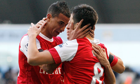 Samir Nasri celebrates with Maraoune Chamakh