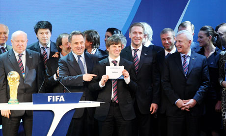 Andrey Arshavin and the rest of the team celebrate Russia's successful bid to host the World Cup