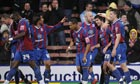 Crystal Palace's Danny Butterfield celebrates scoring the second goal of his hat-trick
