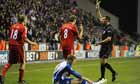 Liverpool denied Steven Gerrard's gesture was directed towards referee Andre Marriner