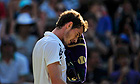 Andy Murray dries his face during his victort over Sam Querrey at Wimbledon