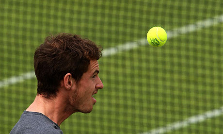 Andy Murray during a training session ahead of his Wimbledon semi-final against Rafael Nadal