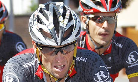 Lance Armstrong during yesterday's fourth stage in Reims