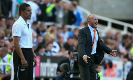 Blackpool's Ian Holloway, right, lets off steam alongside Newcastle boss Chris Hughton, right.